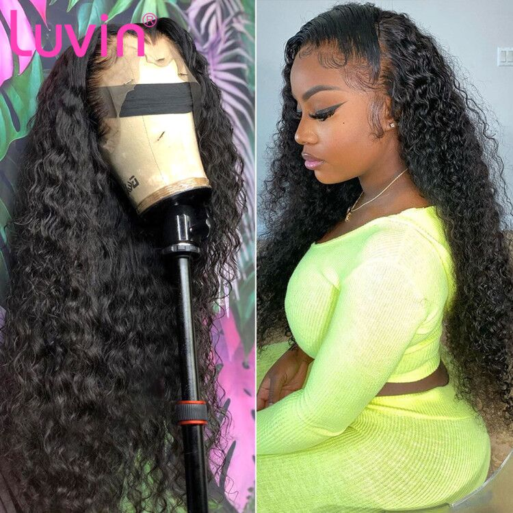 <font><b>Luvin</b></font> 200 density 28 30 Inch Deep Wave 13x6 Glueless Curly Lace Front Human <font><b>Hair</b></font> Wigs Black Women Brazilian Frontal Wig Plucked image