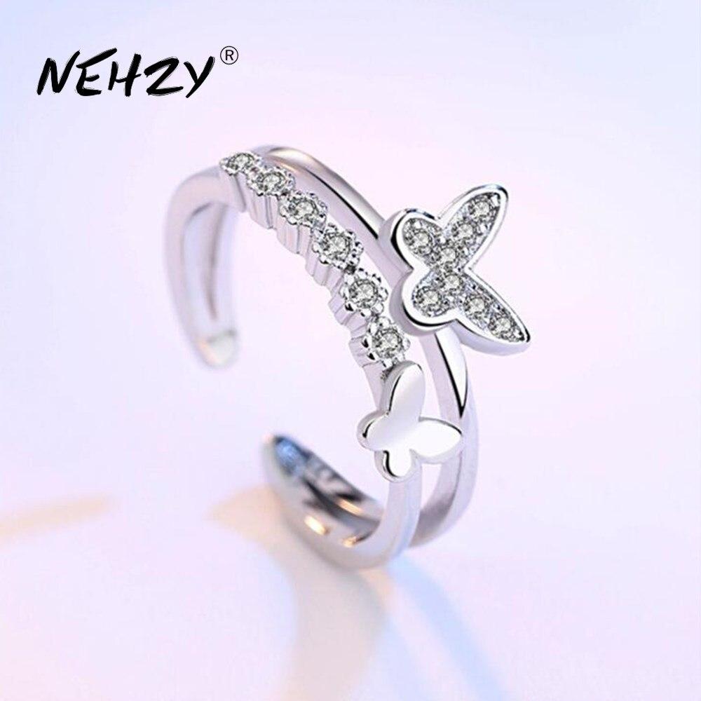 NEHZY-anillo abierto de Plata de Ley 925 para mujer