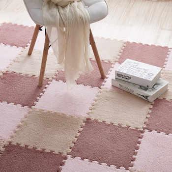 Stitching Velvet Mat Suede Carpet Puzzle Foam Mat Eva Bedroom Full-Piece Home Floor Mat Crawl Pad rugs and carpets