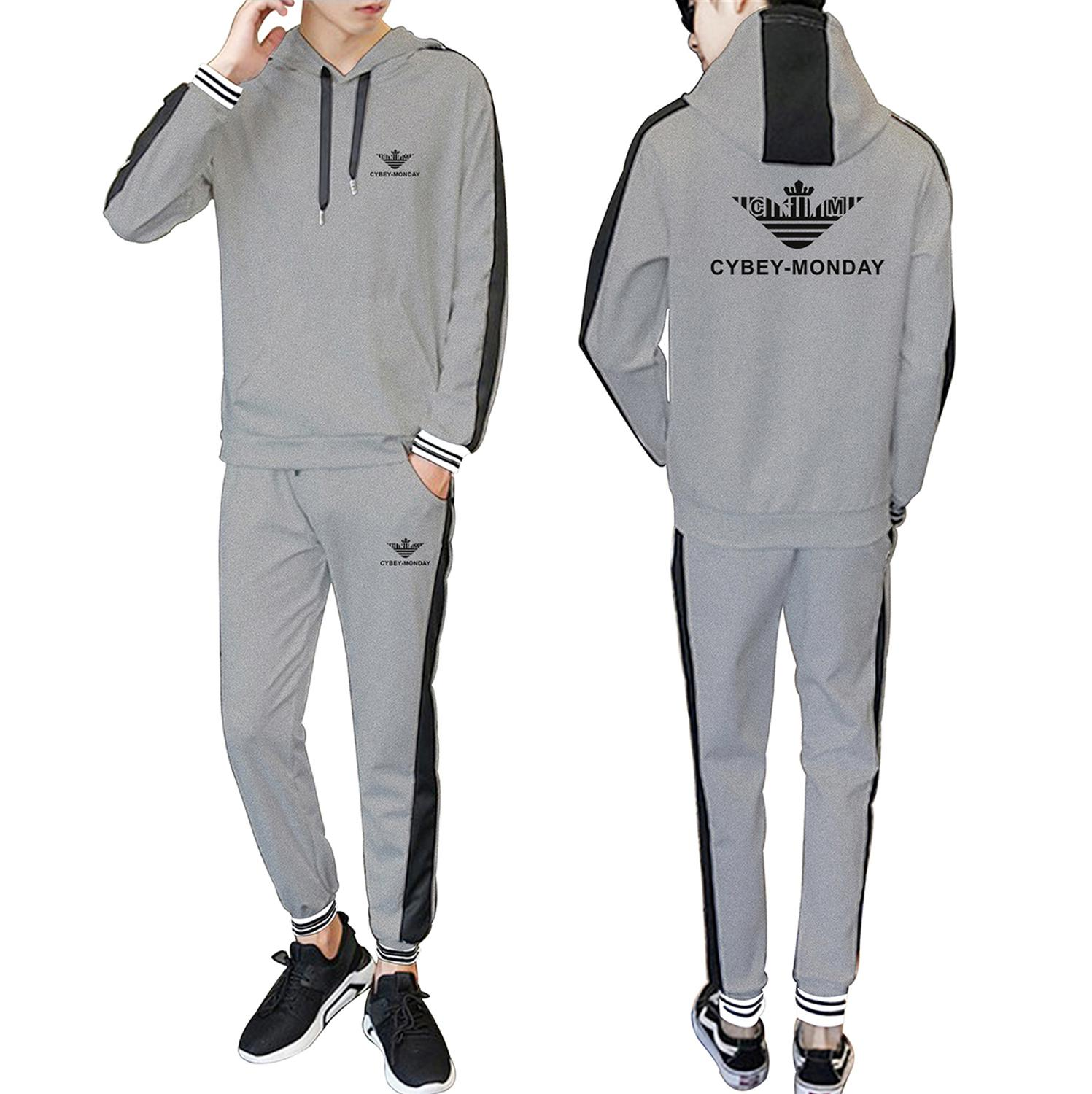 Sports New Logo 2020 Spring and Autumn New Hooded Stitching Fashion Casual Suit Fashion Men's and Women's Sports Casual Suit 5