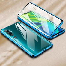 Kaca Double Shock-Proof Phone Case untuk Xiaomi Redmi Note 8 Pro 7 Mi 9 T Mi 8 Mi9 se Mi Catatan 10 Tempered Glass Magnet Penutup(China)