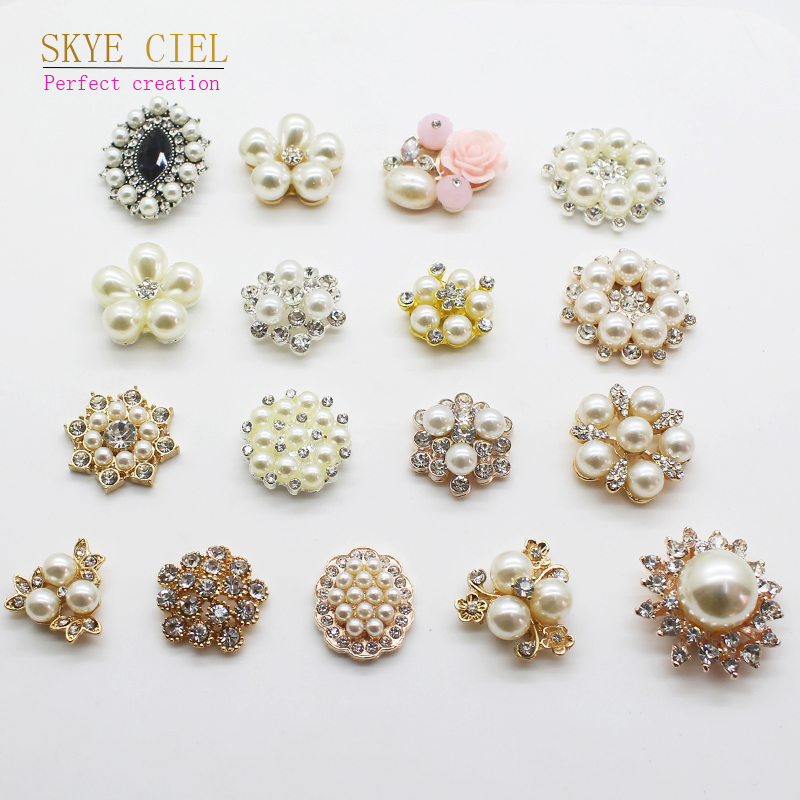 SKYE CIEL 10Pcs Variety diamond Alloy Diy <font><b>jewelry</b></font> Accessories Flat Back Imitation pearls <font><b>Base</b></font> <font><b>Settings</b></font> Wholesale Handmade Fittin image