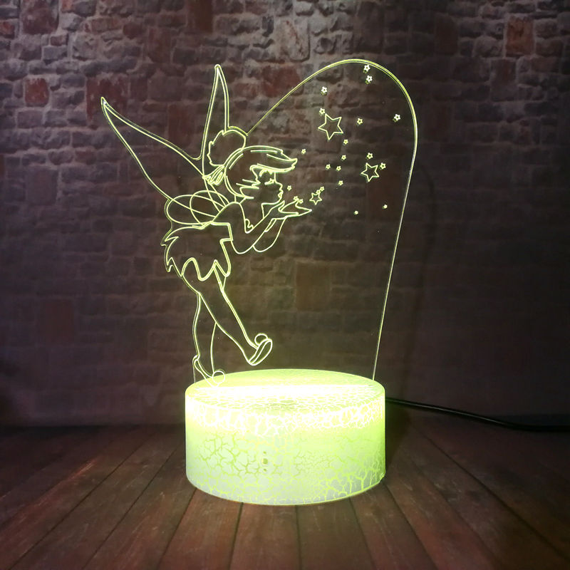 Lovely Tinker Bell Cartoon Figuras Model 3D Illusion LED Nightlight Colorful Changing Light TinkerBell Prince Anime Figure Toys