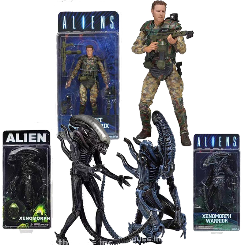 7.2inch 18cm NECA <font><b>Aliens</b></font> vs Predator Sergeant Craig Windrix Xenomorph Warrior Action Figure Model Toy Doll image