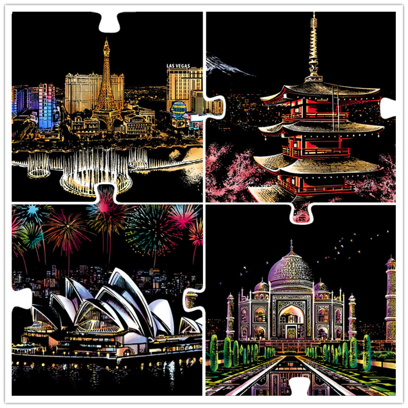 41*28 Cm Magic Scratch Art Crafts World Landscape Scraping Paintings Paper Adult Kids Decompression Toys Creative DIY Gifts