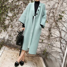 Sweaters Outerwear Long-Coat Colorfaith Korean-Style Warm Elegant Autumn Winter Women