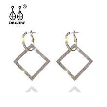 DREJEW Big Geometric Square Gold Silver Rose Statement Earrings 2019 925 Rhinestone Drop for Women Fashion Jewelry E857