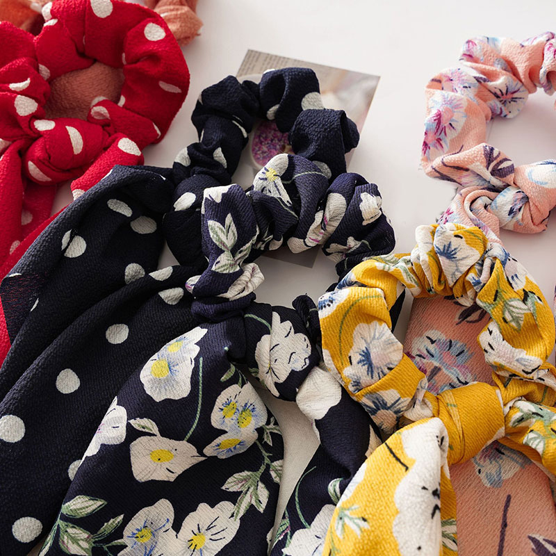 Femmes banderoles chouchous à pois imprimé Floral élastique noeud cheveux corde fille cheveux cravates coréen doux cheveux accessoires chapeaux 2