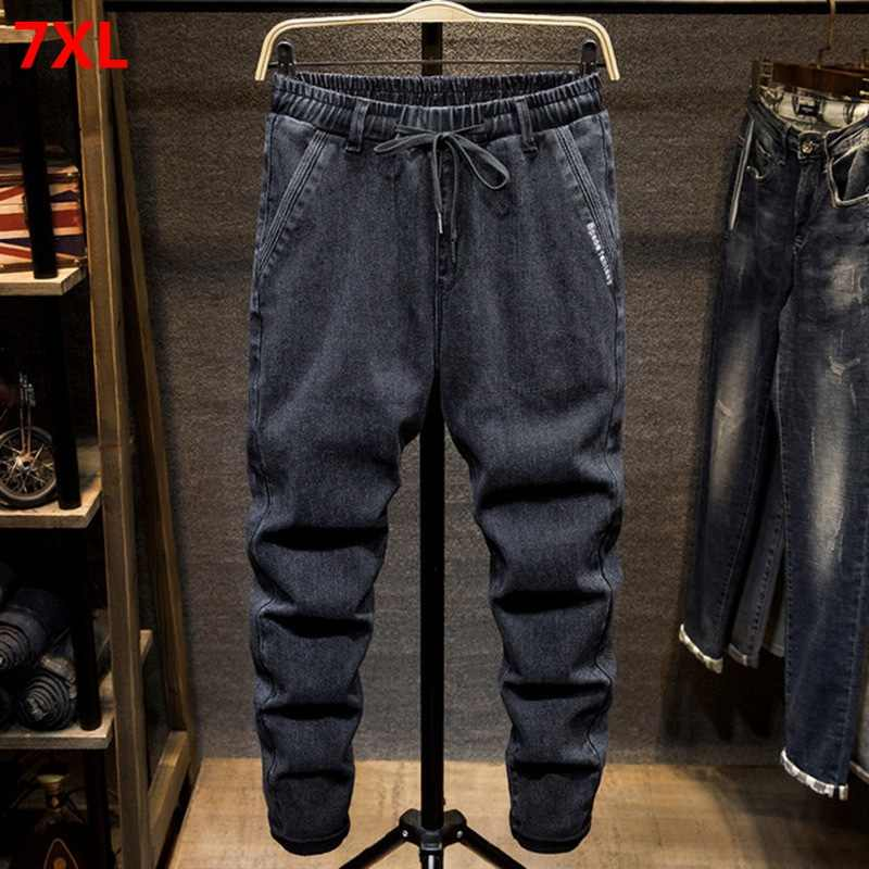 Black large size jeans men's plus size college harem pants autumn elastic stretch feet trousers 7XL 6XL 5XL