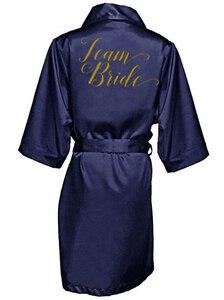 Image 3 - 紺ローブ金の書き込み着物サテンローブ花嫁介添人姉妹の花嫁ローブ結婚式最高ギフトドロップシッピング
