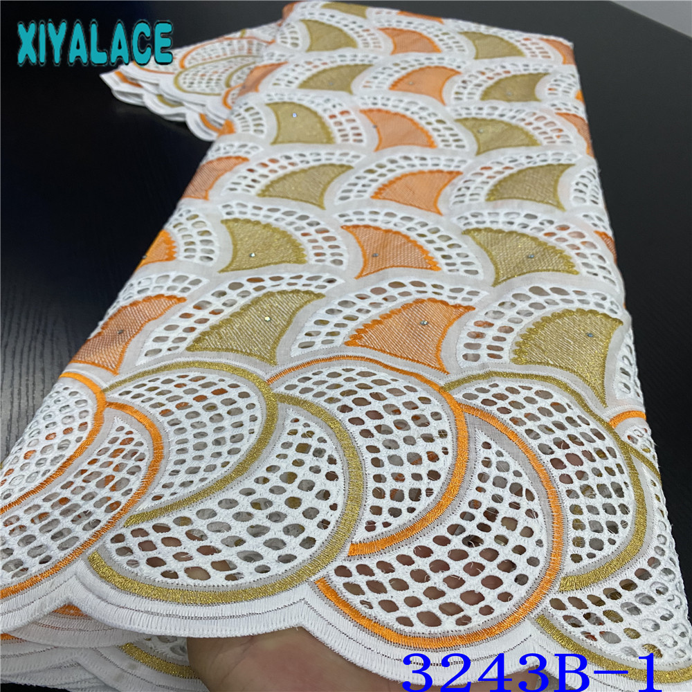 Nigerian Lace Fabric 2019 High Quality Lace Dry Fabrics African Cotton Laces With Stones Hollow Out Design For Dresses KS3243B