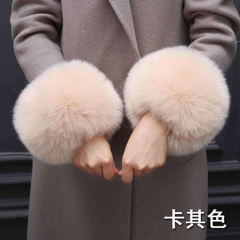 Women Winter Faux Fur Cuffs 100% High Quality Soft Elastic Arm Warmer Casual Oversleeve Wristband Hand Ring Jacket Sleeve Decor