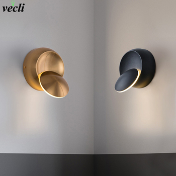5W LED Wall Lamp gold creative round Rotatable bedside wall lamp AC90-260V modern Bedroom living room aisle Indoor Led Sconce
