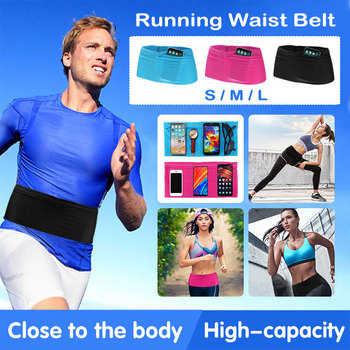 Men&Women Universal Sport Running Pouch Jogging Belt Phone Bag Breathable Solid Color Cycling Waist Packbag 4 Pockets