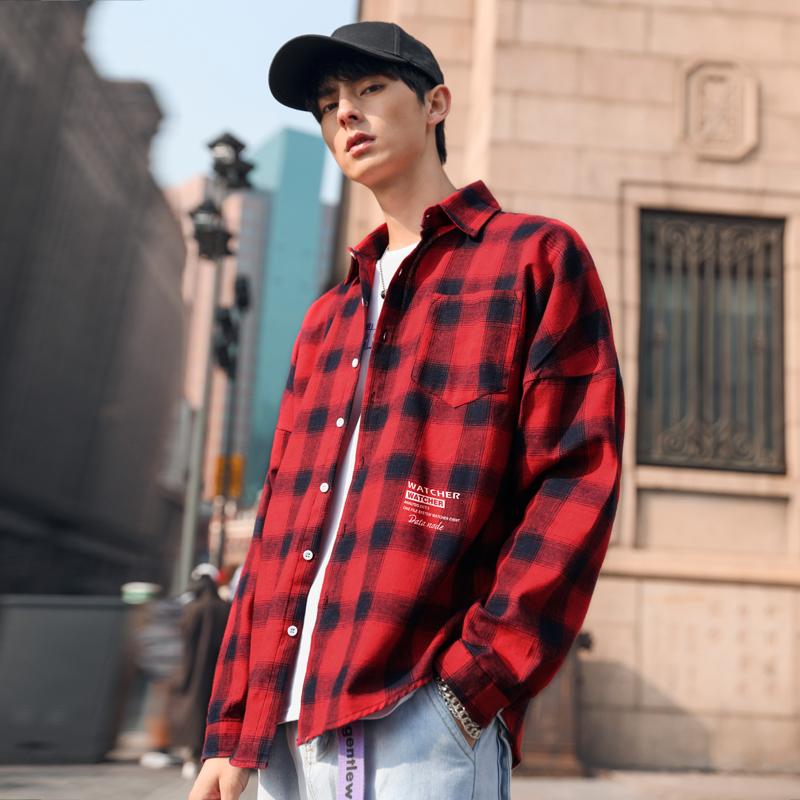 Men Plaid Shirts Man Streetwear Shirts Male White Red Black Plaid Long Sleeve Top Shirt Casual Shirt Korean Style 2020 Fashion