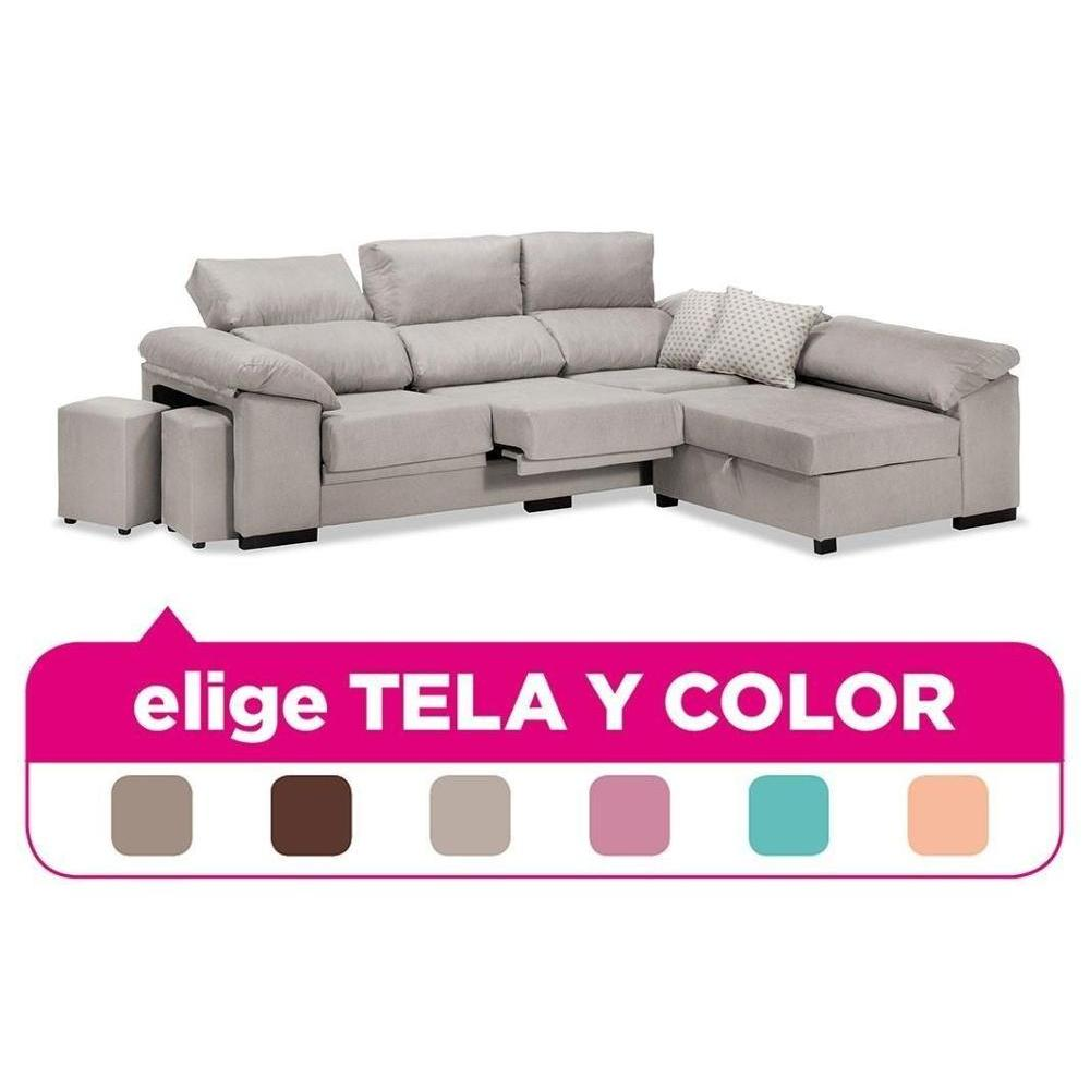 Sofa Chaise Longue, 4 Seater, CLIMB A DOMICILE, Choose Fabric And Color Ref-76
