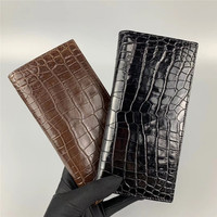 Authentic Crocodile Belly Skin Businessmen Long Bifold Wallet For Suits Clutch Purse Exotic Alligator Leather Male Card Holders