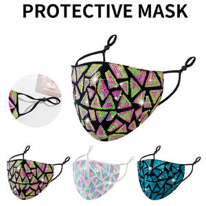 Masks Sequined Breathable Cotton Fashion Dustproof Adult Earloop 3pcs