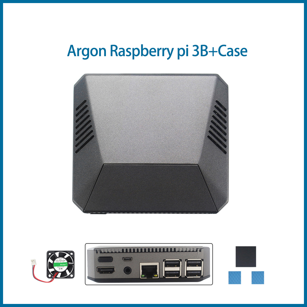 S ROBOT Argon Raspberry Pi 3 Case Removable Magnetic GPIO Cover Metal Shell+Cooling Fan Heat Sink for RPI 3B+/3B RPI162