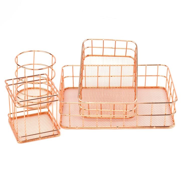 Rose Gold Iron Art Nordic Makeup Organizer Basket Eyeliner Brush Set Storage Cup Dressing Table Makeup Cosmetic Organizer Box