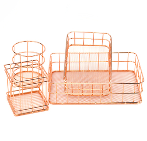 Rose Gold Iron Art Nordic Makeup Organizer Basket Eyeliner Brush Set Storage Cup Dressing Table Makeup Cosmetic Organizer Box