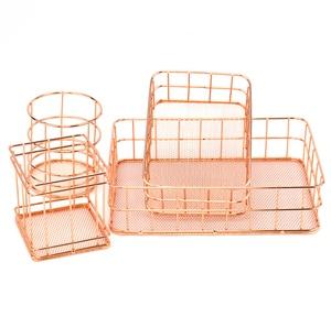 Rose Gold Iron Art Nordic Makeup Organizer Basket Eyeliner Brush Set Storage Cup Dressing Table Makeup Cosmetic Organizer Box(China)
