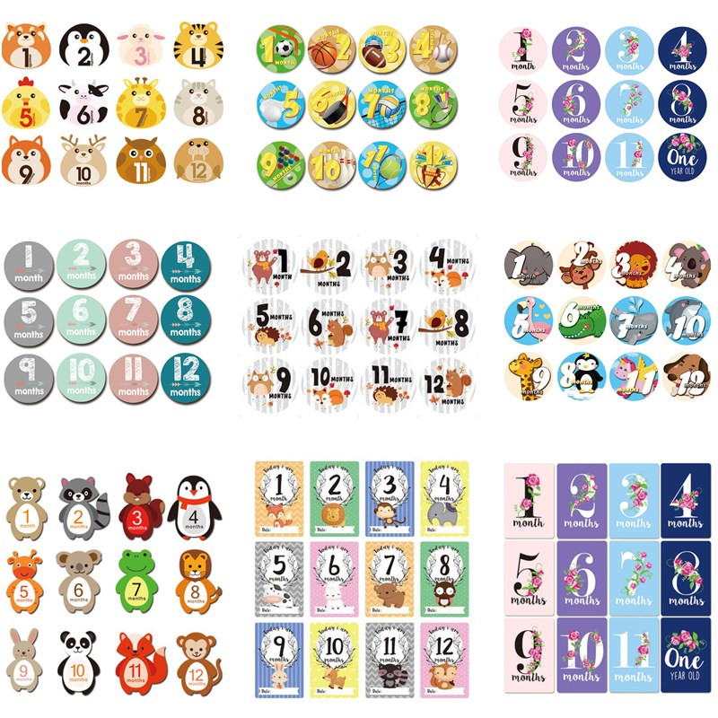 12 Pcs Month Sticker Baby Photography Milestone Memorial Monthly Newborn Kids Commemorative Card Number Photo Accessories Gifts