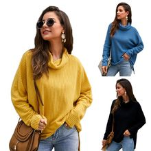Womens Batwing Long Sleeves Sweater Waffle Knitted Turtleneck Solid Color Pullover Tunic Tops Asymmetric Hem Casual Loose Jumper red long sleeves loose jumper