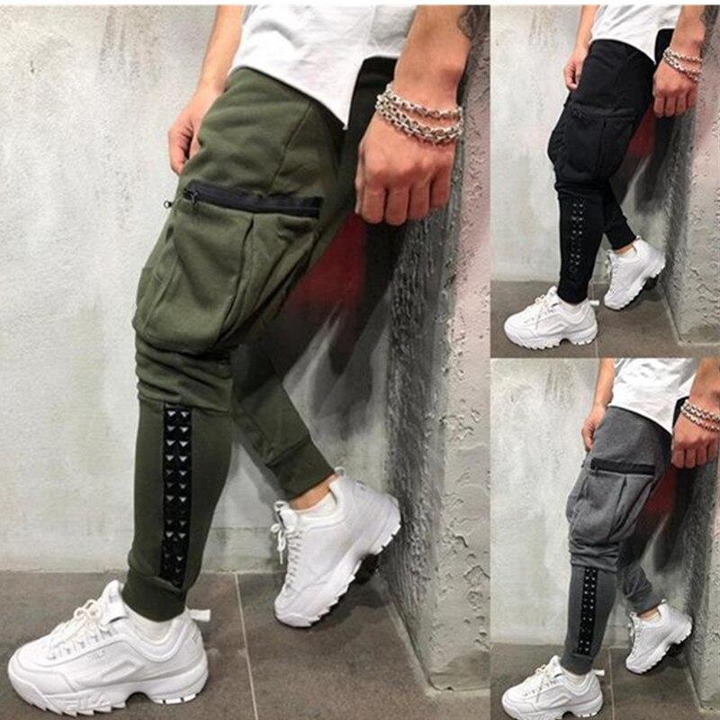 Men Fashion Casual Cotton Slim Straight Trousers Spring Summer Long Pants Multi-pocket zipper sweatpants jogging Elasticity penc