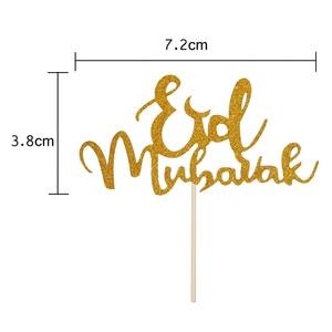 Image 5 - 1 Uds. Adornos para magdalenas Mubarak de Feliz Eid con purpurina, decoración de fiesta Eid musulmana de plata dorada, palillos para fruta para tratar alimentos