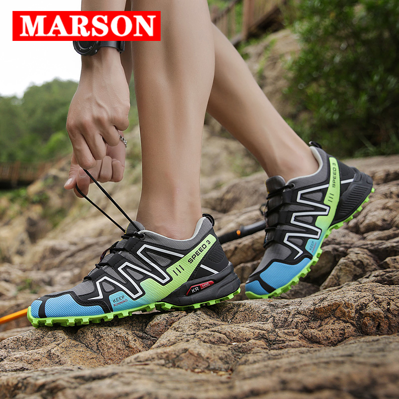 MARSON Men Sneakers Outdoor Casual Shoes Mesh Breathable Comfortable Hiking Rock Climbing Men Shoes Big Size No-Slip Male Shoes
