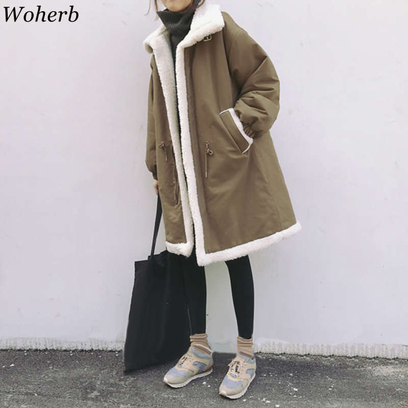 Woherb Women   Parkas   Winter Coats Lambswool Thick Cotton Warm Female Jacket Korean Modis Long Wadded Coat Outwear Loose Style