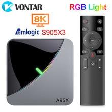 2020 A95X F3 воздуха 8K RGB светильник Смарт ТВ Box Amlogic S905X3 Android 9,0 4 Гб 64 Гб Плекс медиа-сервер Поддержка BT Youtube Декодер каналов кабельного телевидения