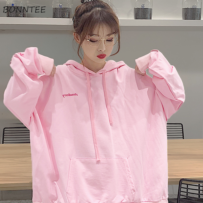 Hoodies Women Letter Printed Hooded Pink Sweet Simple All-match Loose Lovely Womens Pockets Female Korean Style Harajuku Casual