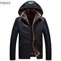 FGKKS Fashion Men Leather Jackets Coat Autumn Winter Male Hooded Warm PU Jackets Coats Men's Faux Jacket Overcoat