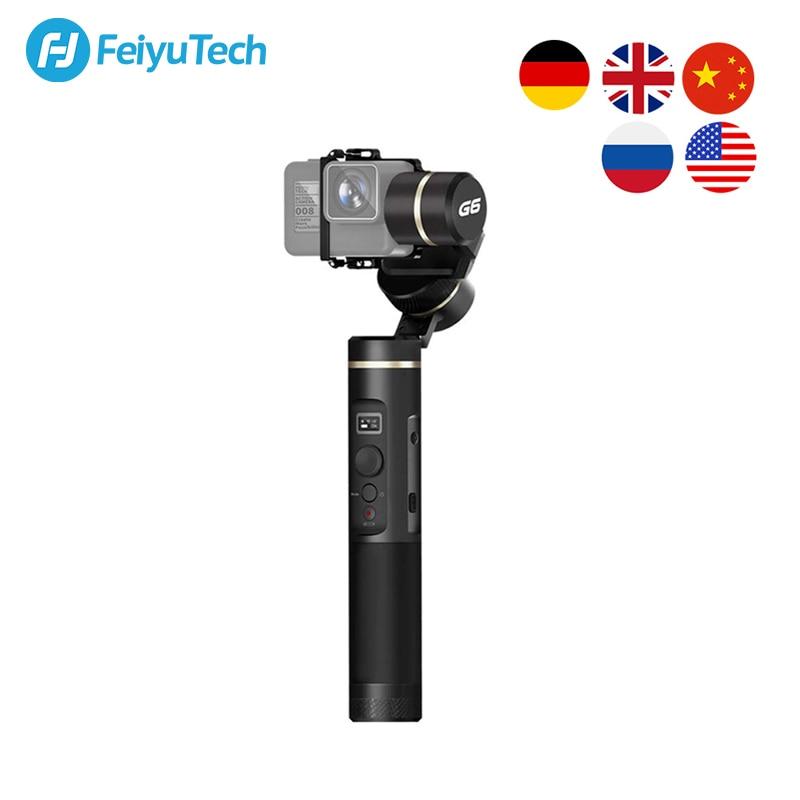 Feiyutech feiyu g6 handheld 3 eixos cardan câmera estabilizador para gopro hero 8 7 6 5 sony rx0 xiao yi 4k câmera de ação à prova de salpicos