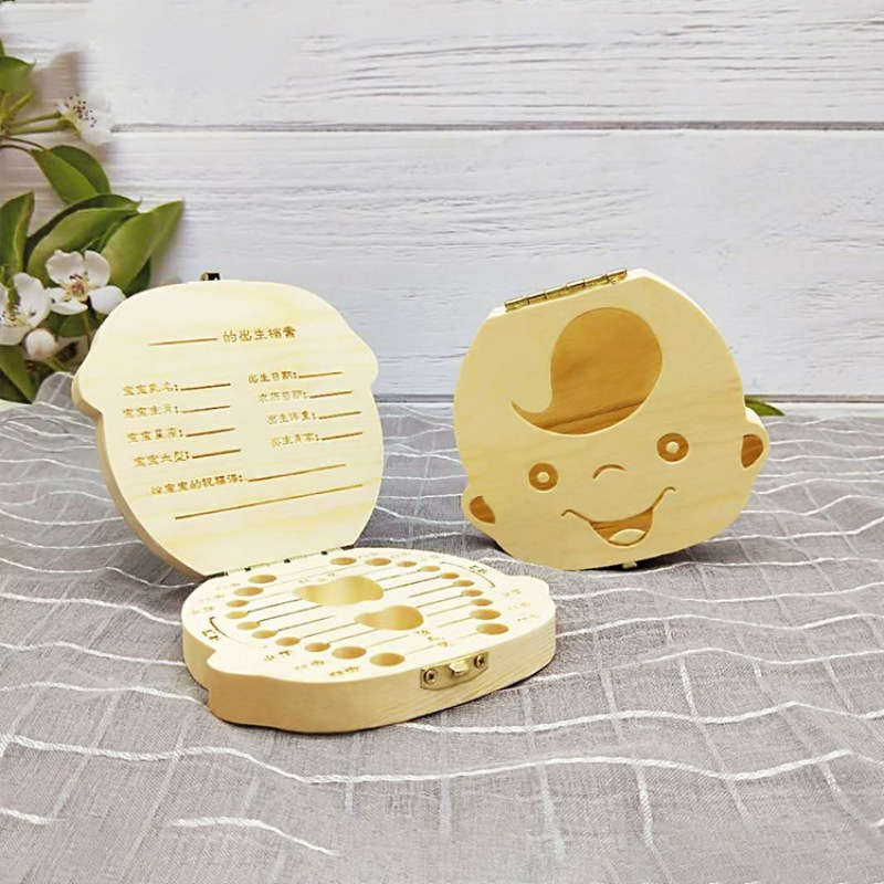 Baby Tooth Keepsake Box, Wooden Tooth Deciduous Teeth Saver Boxes Container For Child Kids First Tooth And Curl Keepsake