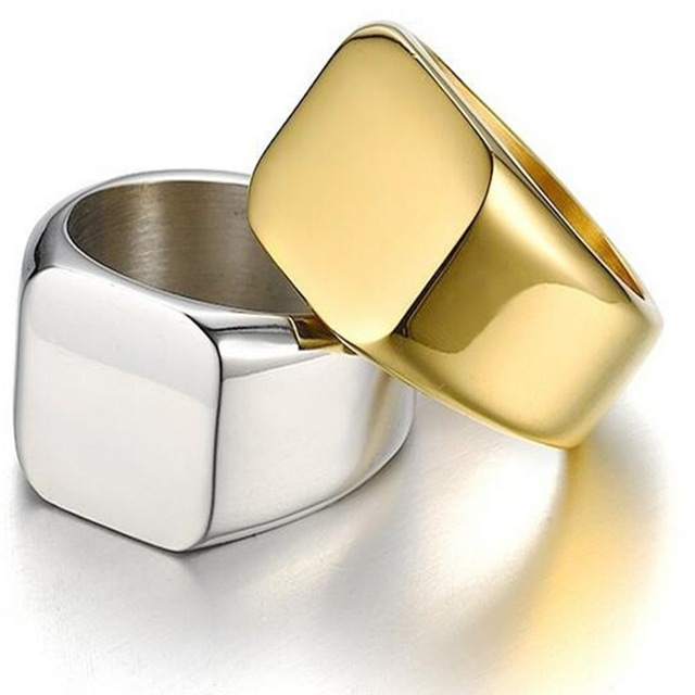 Size 6-12 Simple Black/Gold/Silver Square Ring New Brand Men Width Signet Polished Finger Rings Shellhard Punk Ring Jewelry