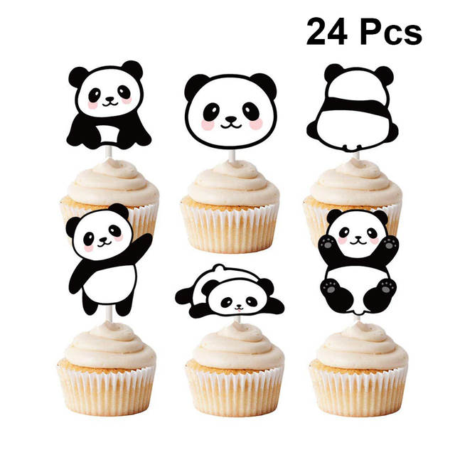 24pcs Cupcake Toppers Cute Panda Cake Topper Cake Picks For Party