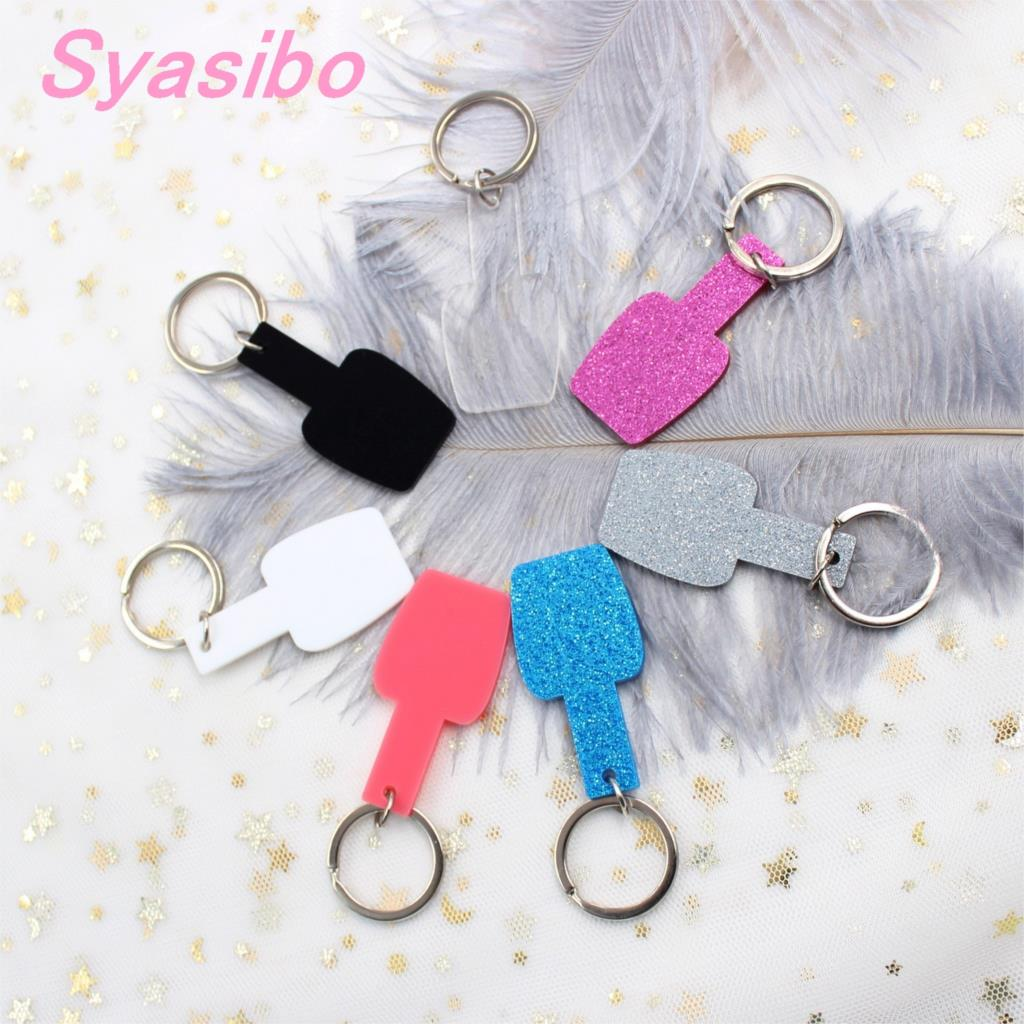 50mm Acrylic Nail Polish Keychain Glitter Blank Clear Monogram Keychain With Ring Gift Laser Cutout-KC028