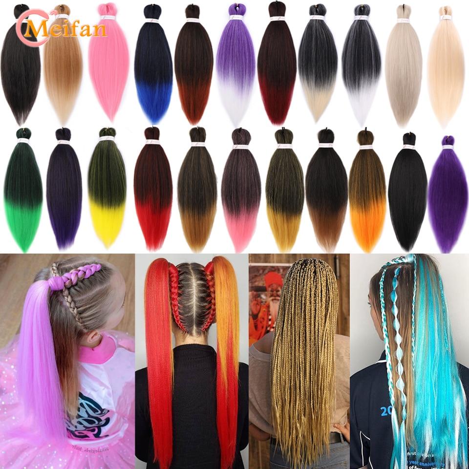 MEIFAN 26inch 100g Easy Jumbo Ombre Braids Kanekalon Hair Synthetic Braiding Hair Ez Crochet Braids Stretched Hair Extensions
