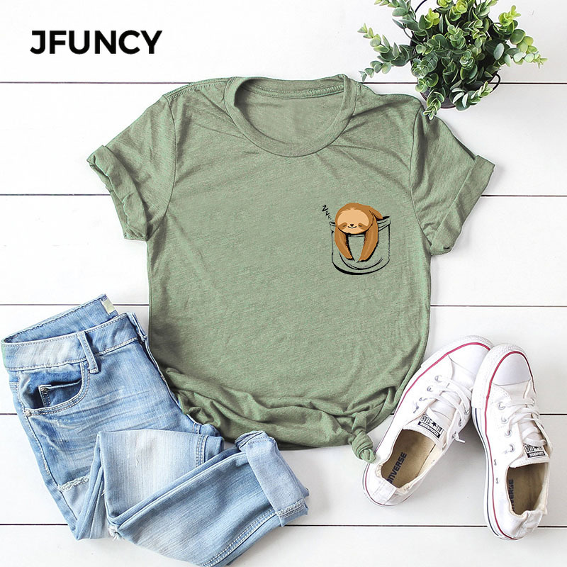 JFUNCY Cute Sloth Pocket Print Plus Size Women Tee Tops 100% Cotton Summer T-Shirt Woman Loose Shirts Kawaii Casual Mujer Tshirt