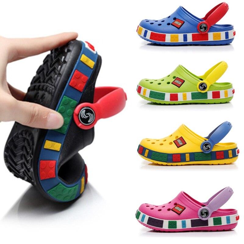 Сандалии пляжные для мальчиков и девочек 4-12 лет, резиновые мюли, дышащие тапочки, летняя обувь