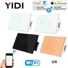 US WIFI Smart Touch Switch 1 2 3 4 Gang Wall Light Wireless Remote Control Switch 220V 1 2 3 Way Tuya Smart Home Alexa Google