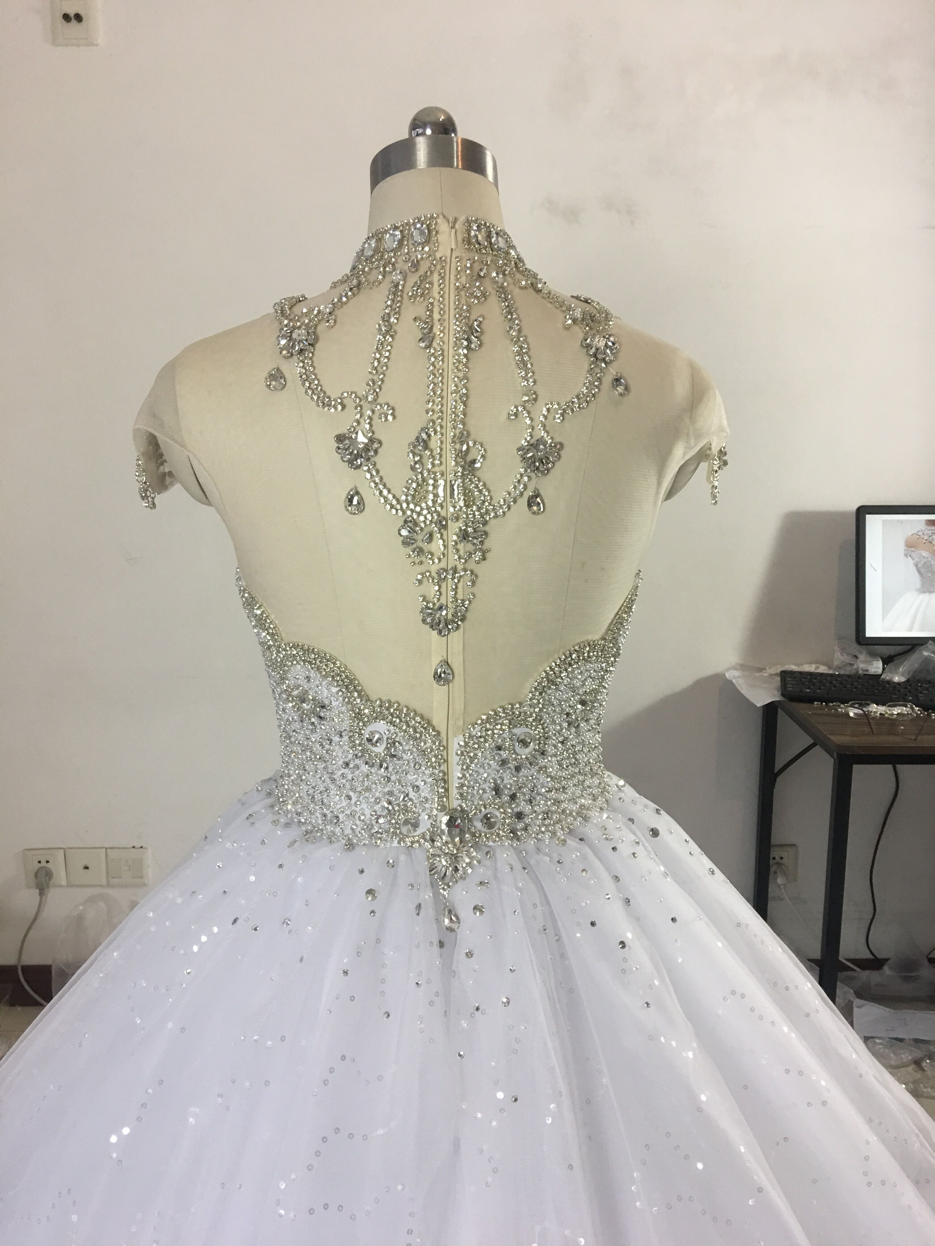 Image 3 - Princess Fluffy Luxury Wedding Dress 2019 Wedding Gowns for Bride Plus Size Tulle Diamond Crystal Beaded Custom Made XJ06S-in Wedding Dresses from Weddings & Events