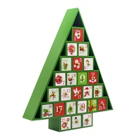 Christmas Decor Gift Ornament Toy Table Wooden Calendar 24 Drawers Countdown Tree Shape Colored Storage Box Xmas Gift Party