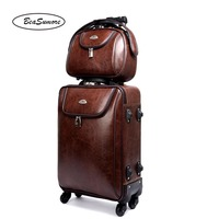 BeaSumore Men Business Rolling Luggage Set Spinner 20 inch Retro PU Leather Wheel Suitcases Cabin Trolley password Travel Bag