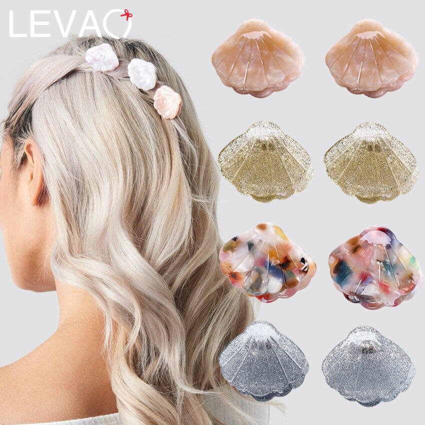 Levao 2PCS Mini Shell Hair Claws Pins For Girls Hair Accessories Colorful Acrylic Shells Hair Clips Headwear Ponytail Hairpins