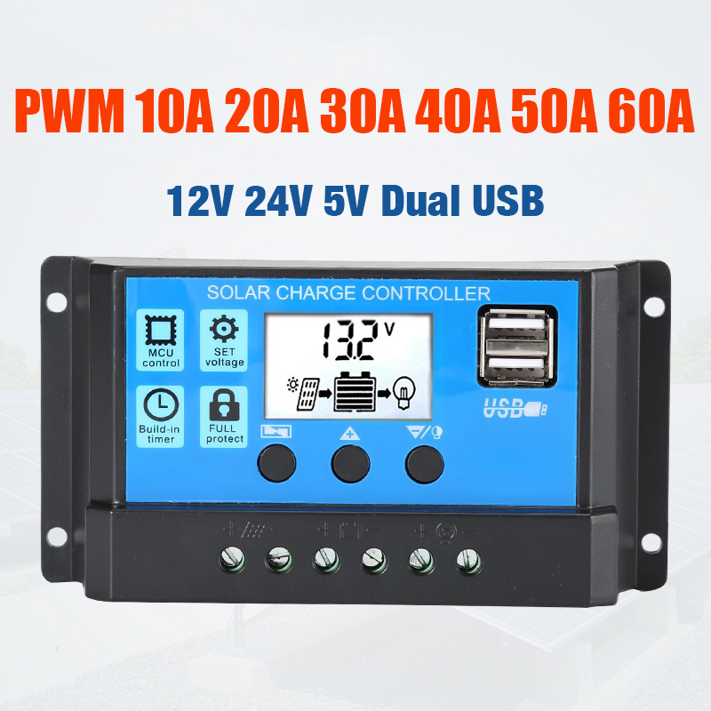 60A/50A/40A/30A/<font><b>20A</b></font>/10A <font><b>12V</b></font> 24V Auto Solar Charge Controller PWM Controllers LCD Dual USB 5V Output Solar Panel Regulator image