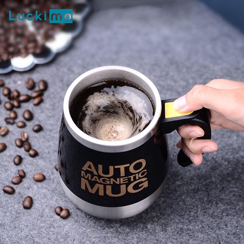Novo automático auto agitação magnética caneca criativa 304 aço inoxidável leite de café copo mistura liquidificador misturador inteligente copo térmico